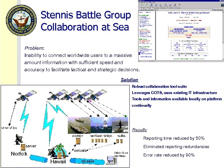 Stennis Battle Group Collaboration at Sea Problem: Inability to connect worldwide users to a