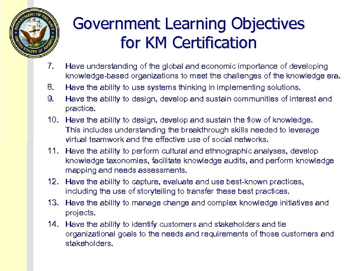 Government Learning Objectives for KM Certification 7. 8. 9. 10. 11. 12. 13. 14.