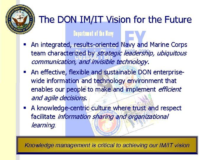 The DON IM/IT Vision for the Future § An integrated, results-oriented Navy and Marine