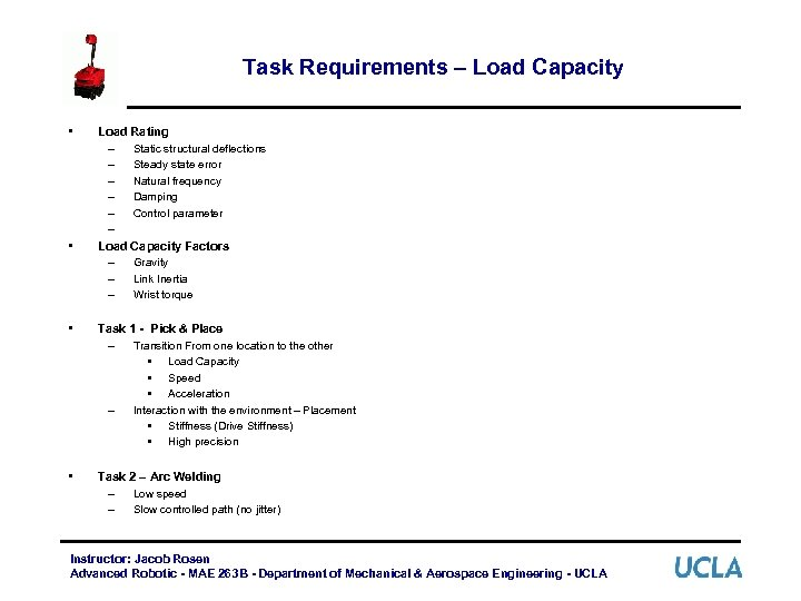 Task Requirements – Load Capacity • • Load Rating – Static structural deflections –