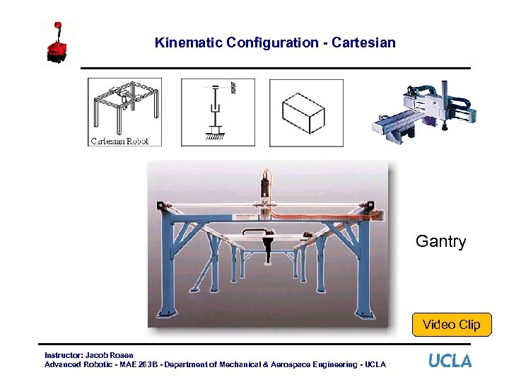 Kinematic Configuration - Cartesian Gantry Video Clip Instructor: Jacob Rosen Advanced Robotic - MAE