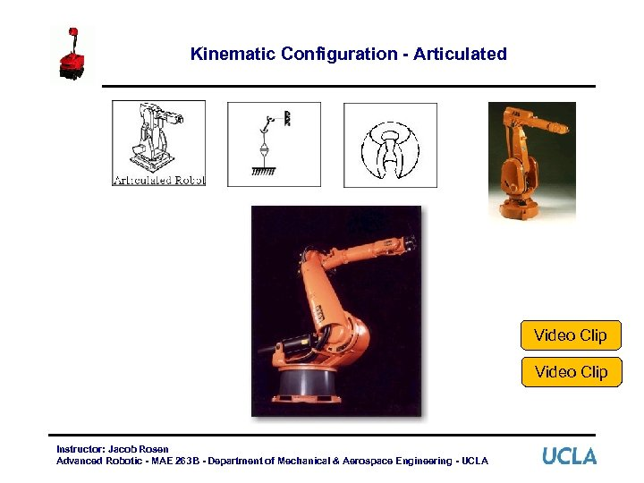 Kinematic Configuration - Articulated Video Clip Instructor: Jacob Rosen Advanced Robotic - MAE 263