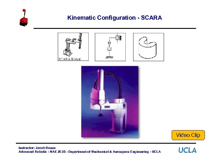 Kinematic Configuration - SCARA Video Clip Instructor: Jacob Rosen Advanced Robotic - MAE 263