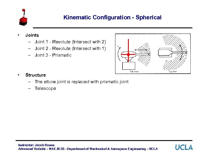 Kinematic Configuration - Spherical • Joints – Joint 1 - Revolute (Intersect with 2)
