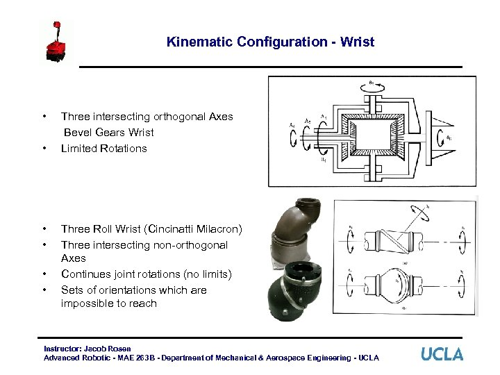 Kinematic Configuration - Wrist • • • Three intersecting orthogonal Axes Bevel Gears Wrist