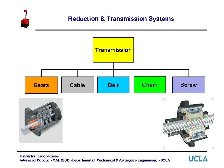Reduction & Transmission Systems Transmission Gears Cable Belt Chain Instructor: Jacob Rosen Advanced Robotic