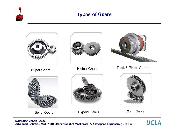Types of Gears Super Gears Bevel Gears Helical Gears Hypoid Gears Rack & Pinion