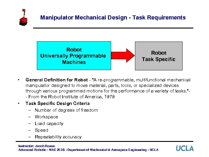 Manipulator Mechanical Design - Task Requirements Robot Universally Programmable Machines • • Robot Task