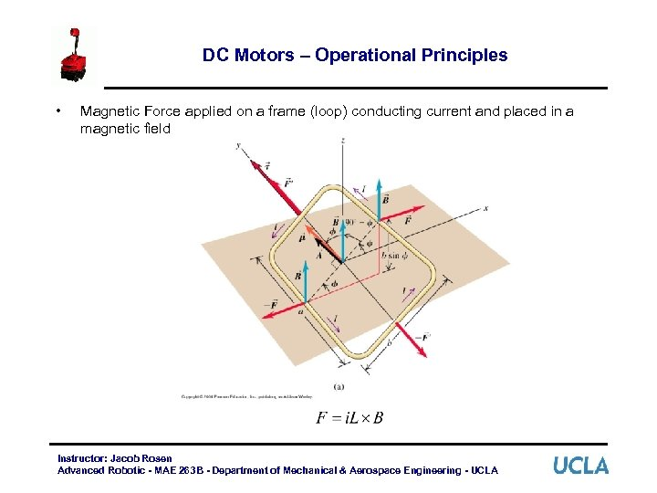 DC Motors – Operational Principles • Magnetic Force applied on a frame (loop) conducting