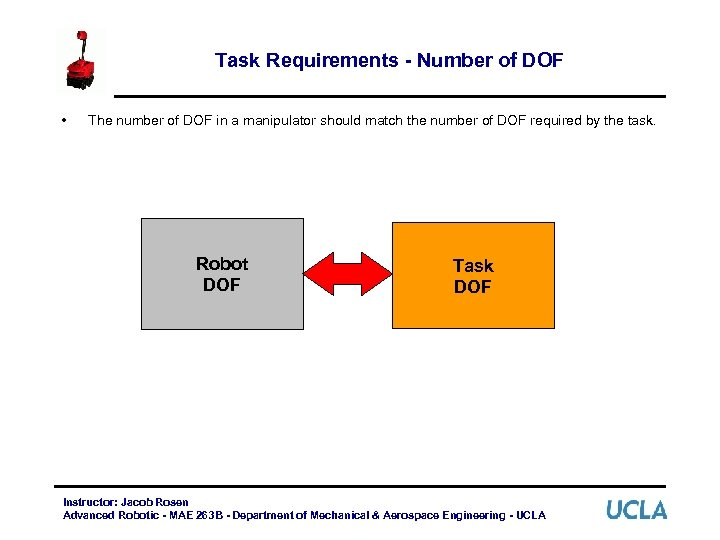 Task Requirements - Number of DOF • The number of DOF in a manipulator
