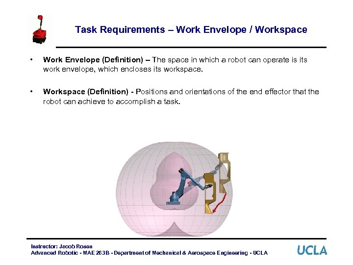 Task Requirements – Work Envelope / Workspace • Work Envelope (Definition) – The space