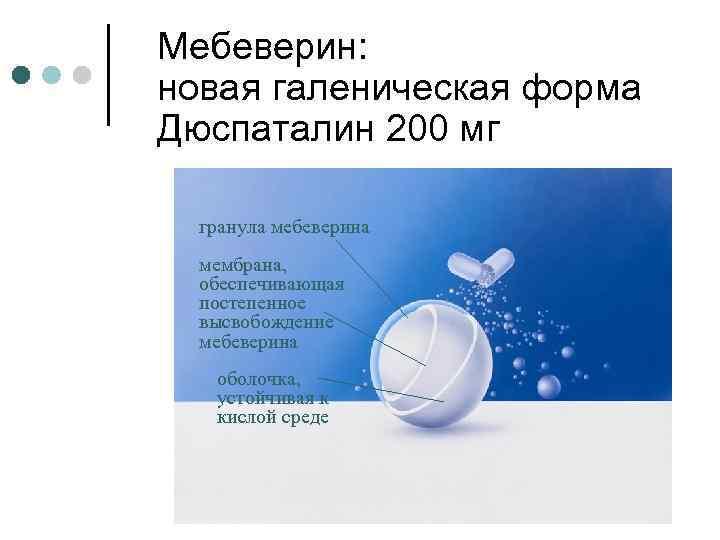 Мебеверин: новая галеническая форма Дюспаталин 200 мг гранула мебеверина мембрана, обеспечивающая постепенное высвобождение мебеверина