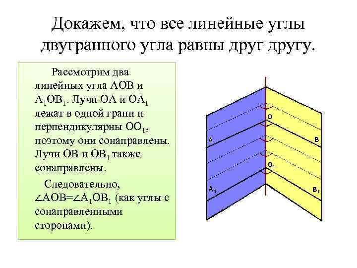 Докажем, что все линейные углы двугранного угла равны другу. Рассмотрим два линейных угла АОВ