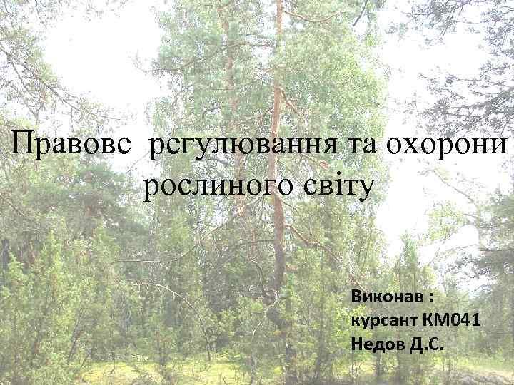Правове регулювання та охорони рослиного світу Виконав : курсант КМ 041 Недов Д. С.