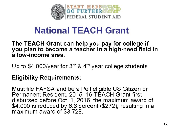National TEACH Grant The TEACH Grant can help you pay for college if you