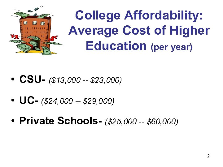 College Affordability: Average Cost of Higher Education (per year) • CSU- ($13, 000 --