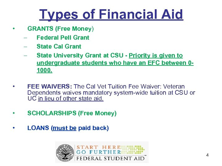 Types of Financial Aid • GRANTS (Free Money) – Federal Pell Grant – State