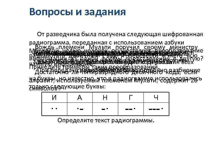 Вопросы и задания От разведчика была получена следующая шифрованная радиограмма, переданная с использованием азбуки