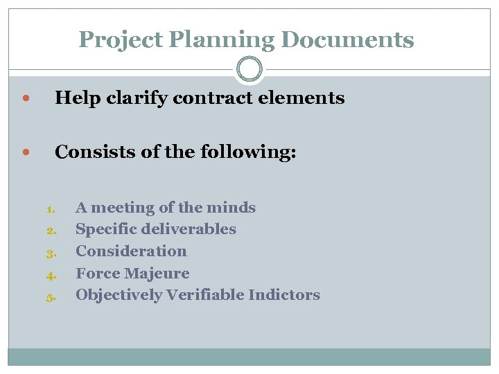 Project Planning Documents Help clarify contract elements Consists of the following: 1. 2.