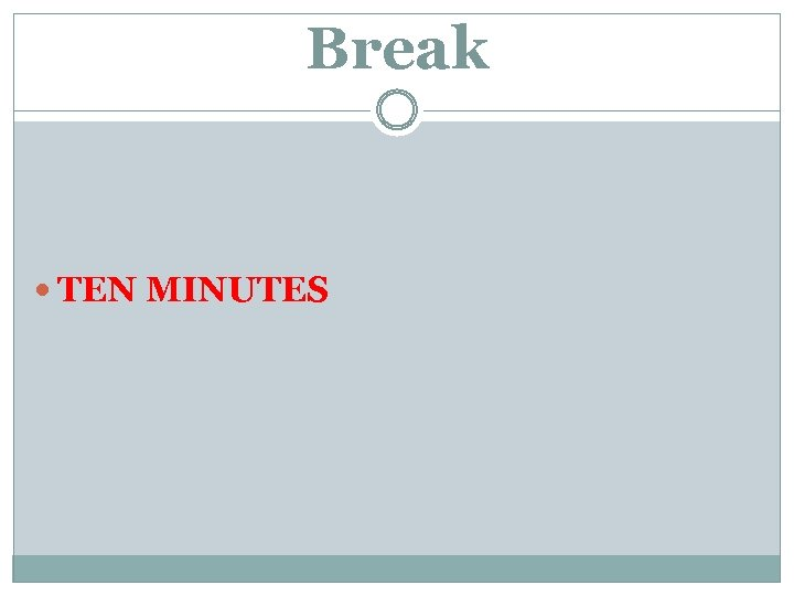 Break TEN MINUTES