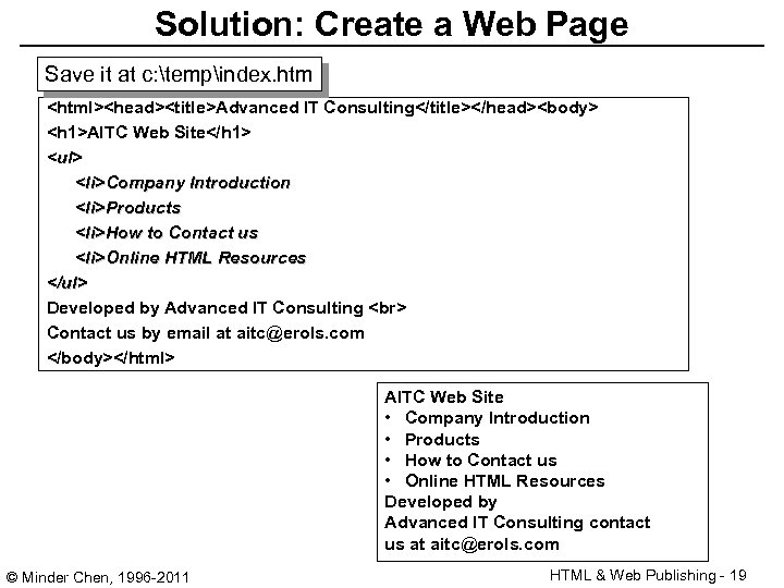 Solution: Create a Web Page Save it at c: tempindex. htm <html><head><title>Advanced IT Consulting</title></head><body>