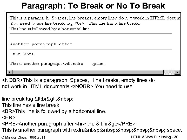Paragraph: To Break or No To Break <NOBR>This is a paragraph. Spaces, line breaks,