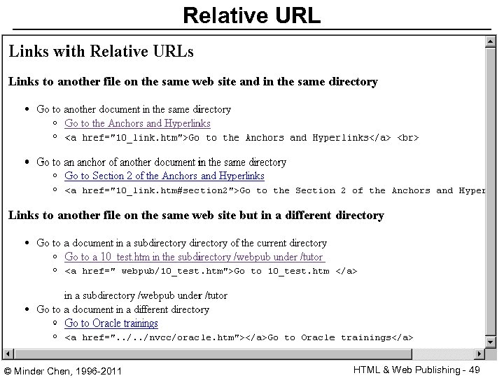 Relative URL © Minder Chen, 1996 -2011 HTML & Web Publishing - 49