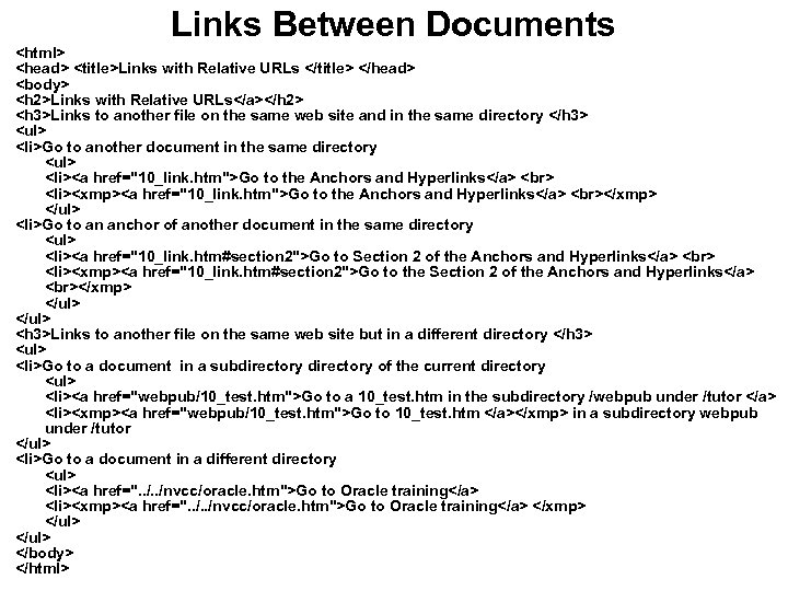 Links Between Documents <html> <head> <title>Links with Relative URLs </title> </head> <body> <h 2>Links