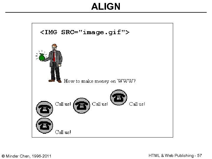 ALIGN © Minder Chen, 1996 -2011 HTML & Web Publishing - 57