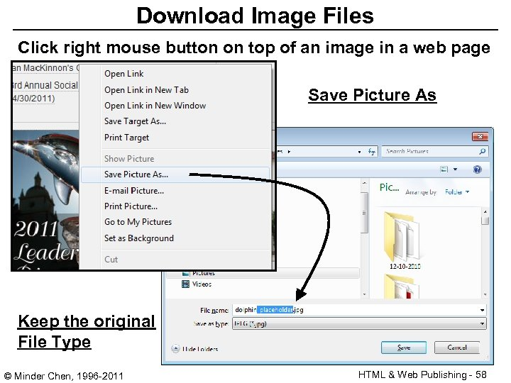 Download Image Files Click right mouse button on top of an image in a