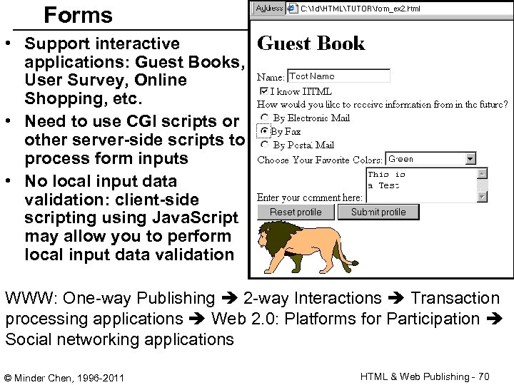 Forms • Support interactive applications: Guest Books, User Survey, Online Shopping, etc. • Need