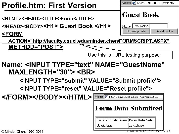 Profile. htm: First Version <HTML><HEAD><TITLE>Form</TITLE> </HEAD><BODY><H 1> Guest Book </H 1> <FORM ACTION=