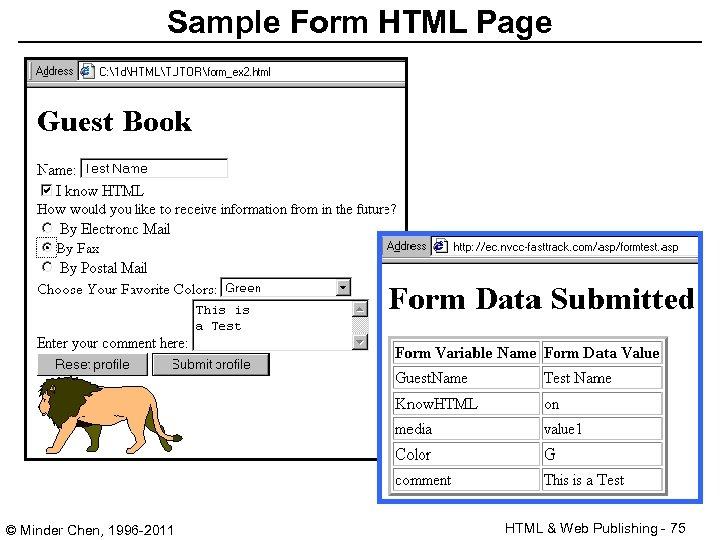 Sample Form HTML Page © Minder Chen, 1996 -2011 HTML & Web Publishing -