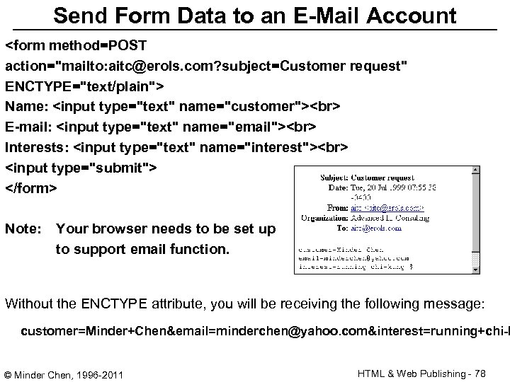 Send Form Data to an E-Mail Account <form method=POST action=