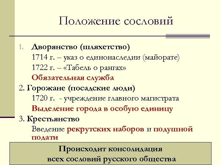 Положение сословий 1. Дворянство (шляхетство) 1714 г. – указ о единонаследии (майорате) 1722 г.