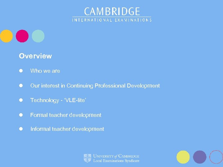 Overview l Who we are l Our interest in Continuing Professional Development l Technology