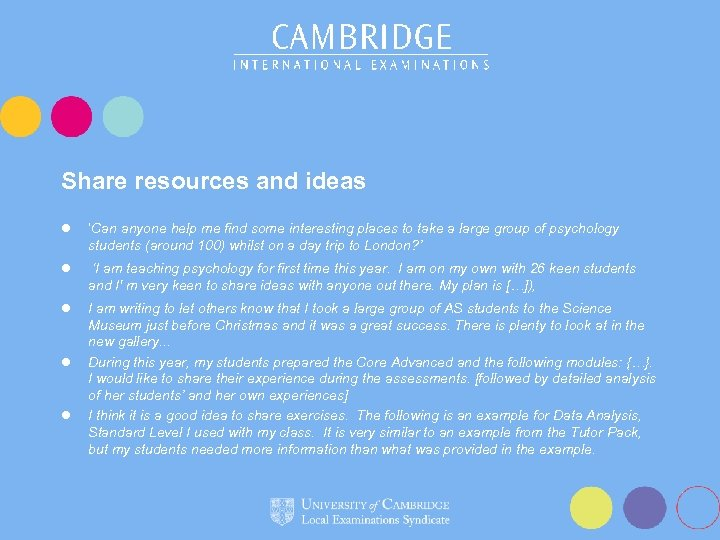 Share resources and ideas l 'Can anyone help me find some interesting places to