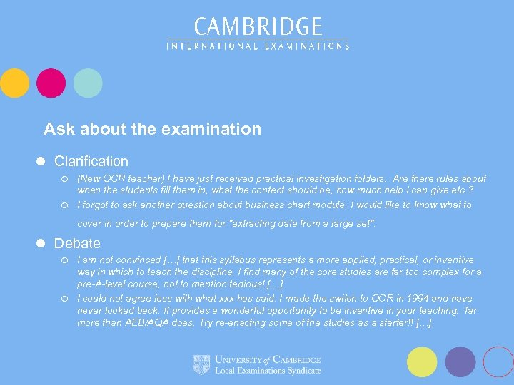Ask about the examination l Clarification (New OCR teacher) I have just received practical