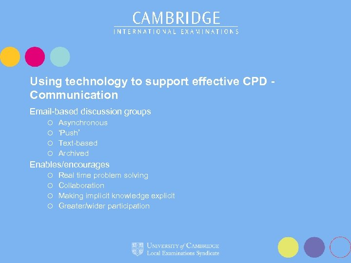 Using technology to support effective CPD Communication Email-based discussion groups Asynchronous ¡ 'Push' ¡