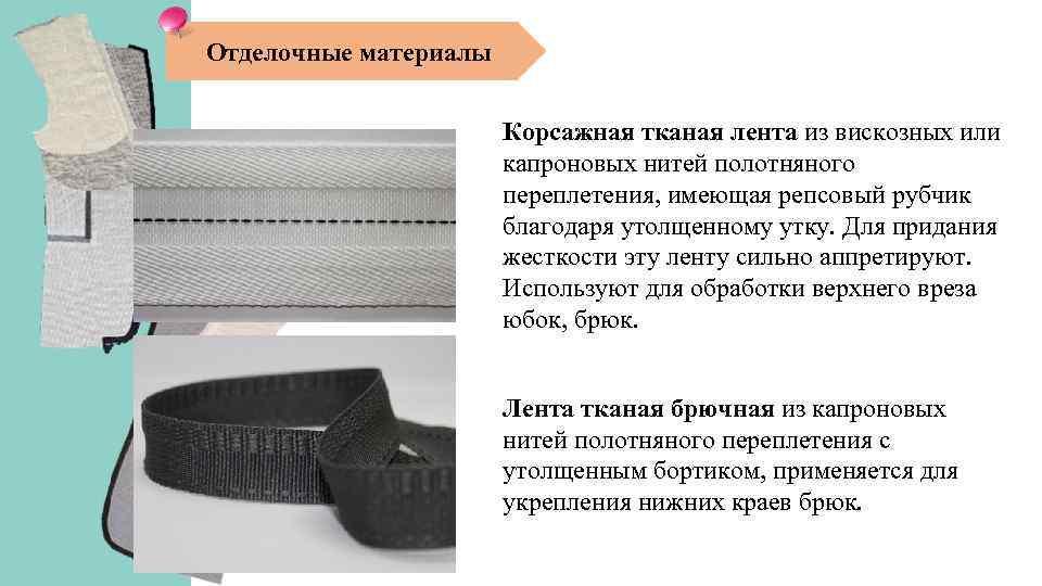 Отделочные материалы Корсажная тканая лента из вискозных или капроновых нитей полотняного переплетения, имеющая репсовый