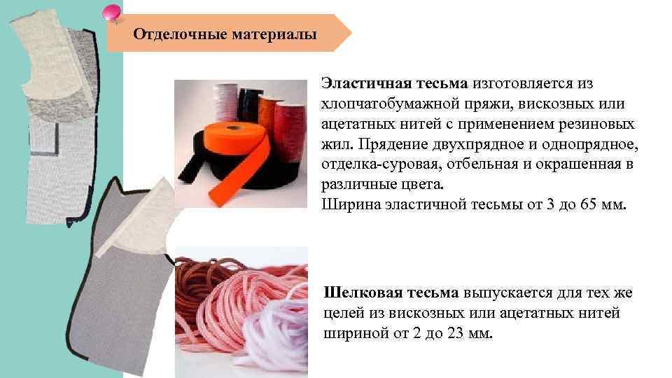 Отделочные материалы Эластичная тесьма изготовляется из хлопчатобумажной пряжи, вискозных или ацетатных нитей с применением