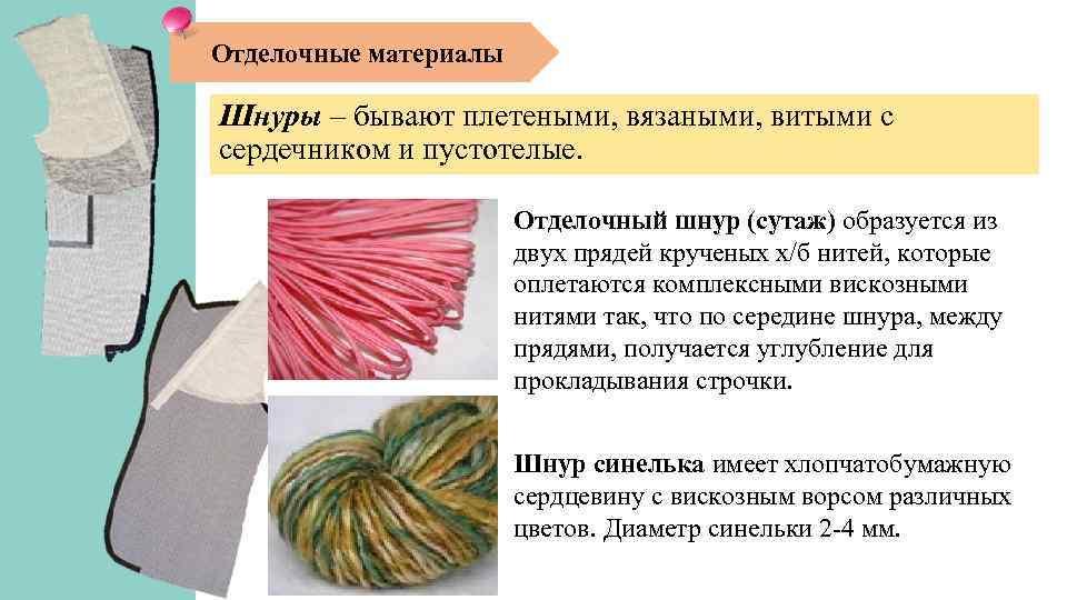 Отделочные материалы Шнуры – бывают плетеными, вязаными, витыми с сердечником и пустотелые. Отделочный шнур