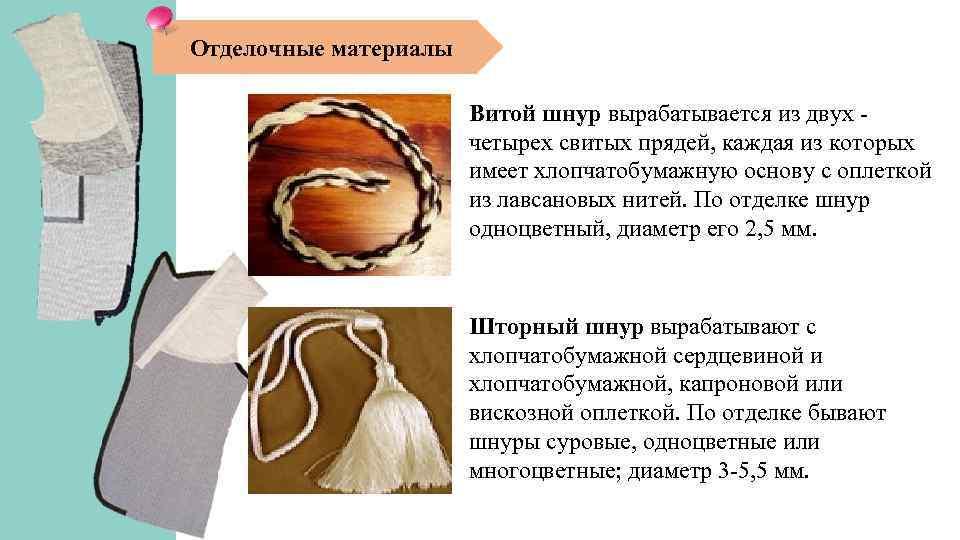 Отделочные материалы Витой шнур вырабатывается из двух четырех свитых прядей, каждая из которых имеет