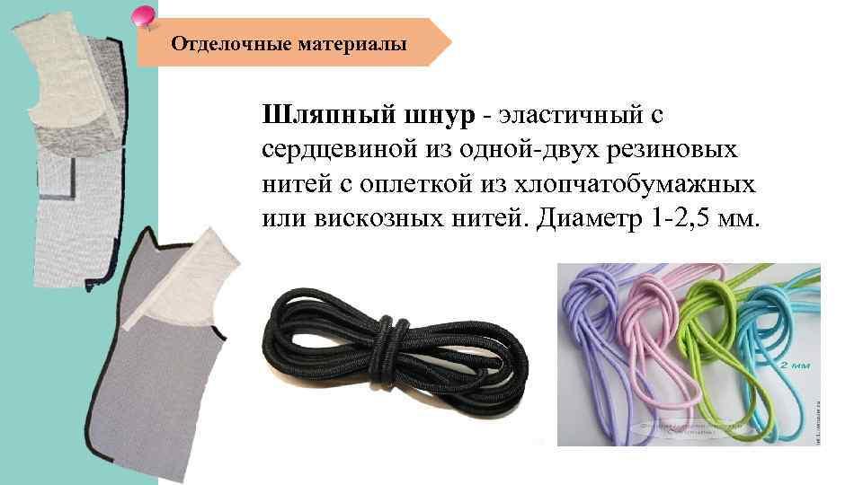 Отделочные материалы Шляпный шнур - эластичный с сердцевиной из одной-двух резиновых нитей с оплеткой