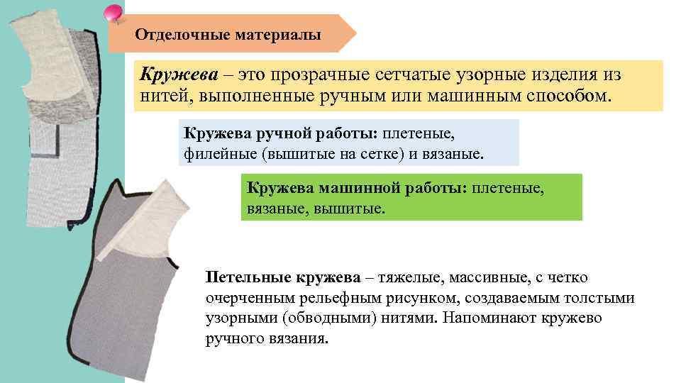 Отделочные материалы Кружева – это прозрачные сетчатые узорные изделия из нитей, выполненные ручным или