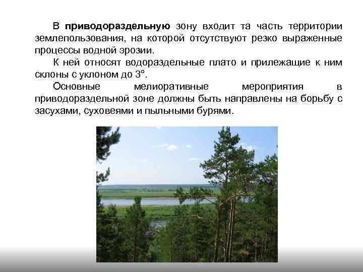 В приводораздельную зону входит та часть территории землепользования, на которой отсутствуют резко выраженные процессы