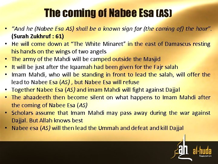 """The coming of Nabee Esa (AS) • """"And he (Nabee Esa AS) shall be"""