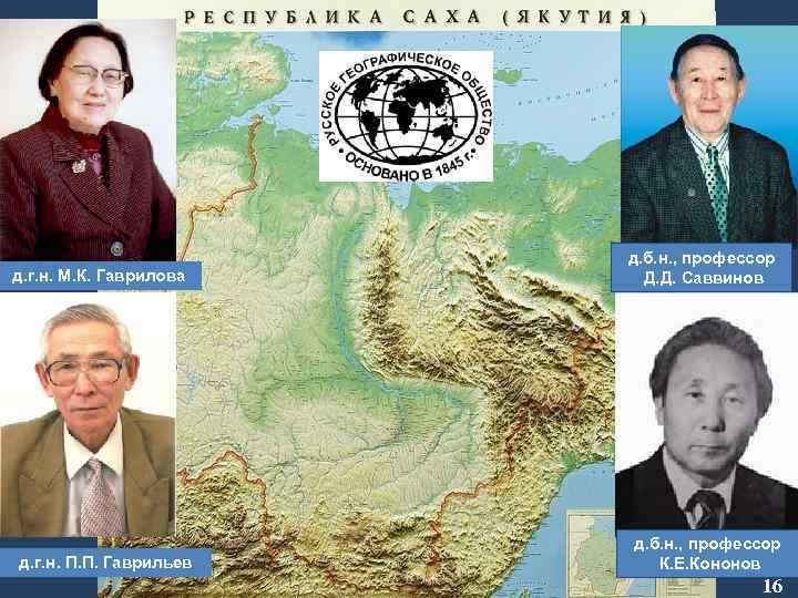 д. б. н. , профессор Д. Д. Саввинов д. г. н. М. К. Гаврилова