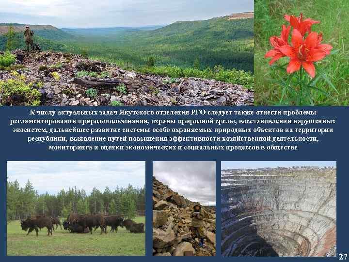 К числу актуальных задач Якутского отделения РГО следует также отнести проблемы регламентирования природопользования, охраны