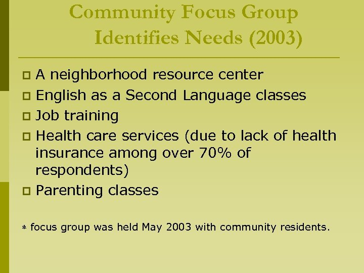 Community Focus Group Identifies Needs (2003) A neighborhood resource center p English as a